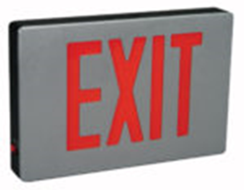 Big Beam Emergency Lighting EDCL2GABU DIE CAST ALUMINUM EXIT SIGNAGE EDCL2GABU Economy Die Cast Aluminum, Universal Stencil, Green Letters, Battery Backup or EDCL2GABU or BIGBEAM
