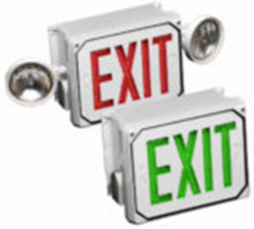 Big Beam Emergency Lighting E4XL1GW NEMA 4X EXIT SIGNS / All must be Single Face Made in USA E4XL1GW Battery Backup, Green Letters, White Panel or E4XL1GW or BIGBEAM