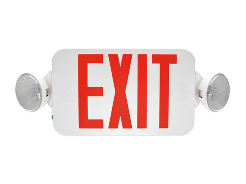 Exit & Emergency Combo, Thermoplastic, Red Letters, White, Remote Head Capable EXC-RWRC by Maxlite