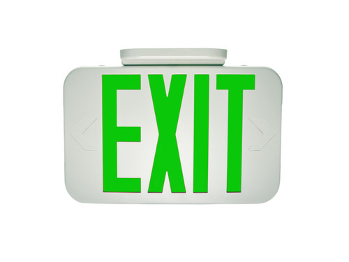 Exit, Thermoplastic, Green Letters, White, Remote Head Capable EX-GWRC by Maxlite
