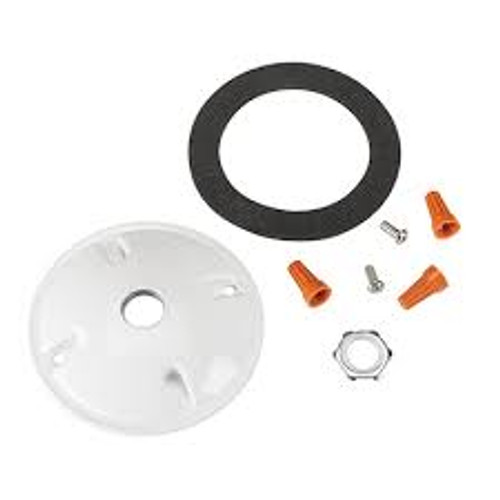 """Keystone Technologies KT-FLED-RC-4-W Round Cover Plate for mounting Flood Lights on 4"""" Round boxes. Includes Mounting Hardware. White Color Flood Lights"""