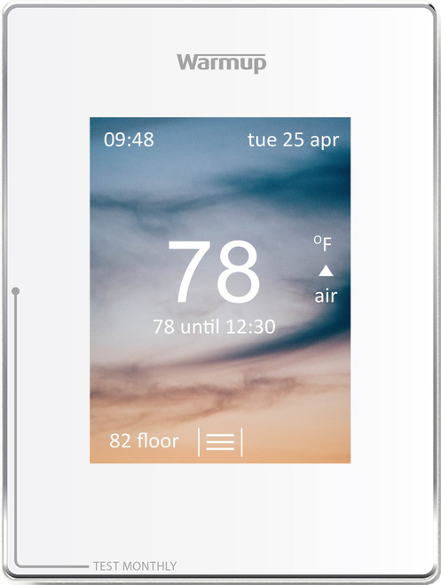 Warmup 4iE-V04-WH-01 WarmUp 4iE-V04WH Warmup 4iE Portrait Smart WiFi Thermostat, 120V/240V with sensor probe and instructions Cloud White with GFCI