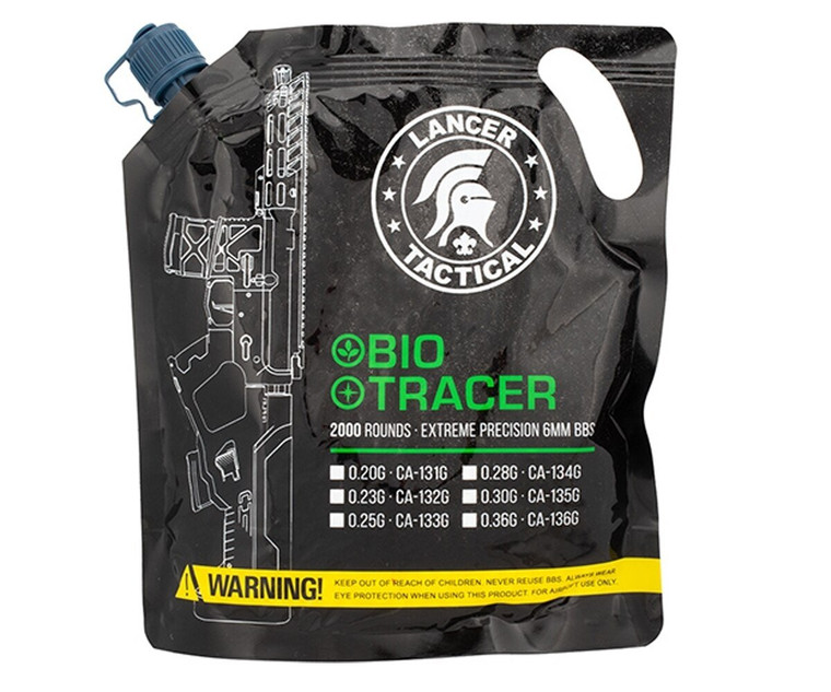 Lancer Tactical Bio Airsoft 6mm BBs 2,000 Rounds Tracer Glow In Dark .20G Green