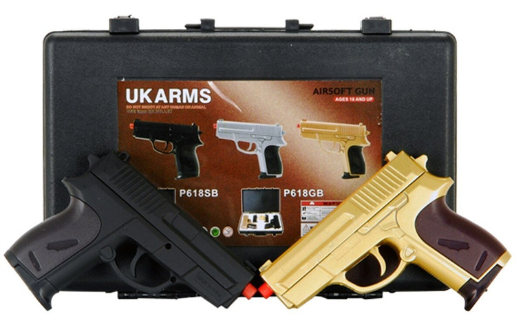 """CYMA Dual P618 GOLD Tactical Spring Airsoft Hand Guns w CASE - """"The Pea Shooter"""""""