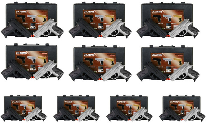 Lot of 10 New Cyma P618 Silver Black Spring Powered Airsoft Hand Pistol Guns