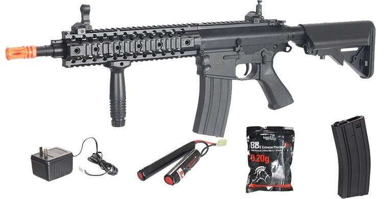 LT-12B-G2 *435 FPS* Lancer Tactical M4 AEG Metal Gears Airsoft Rifle Gun & BATTERY