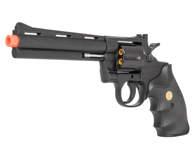 G36B Spring Airsoft Gun - 6 SHOT 357 MAGNUM REVOLVER w/ Shells + 6mm BBs - BLACK