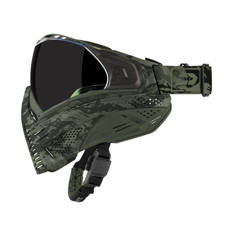 PUSH UNITE Paintball Goggles Mask with QUAD Pane Lens and Case - Olive Camo