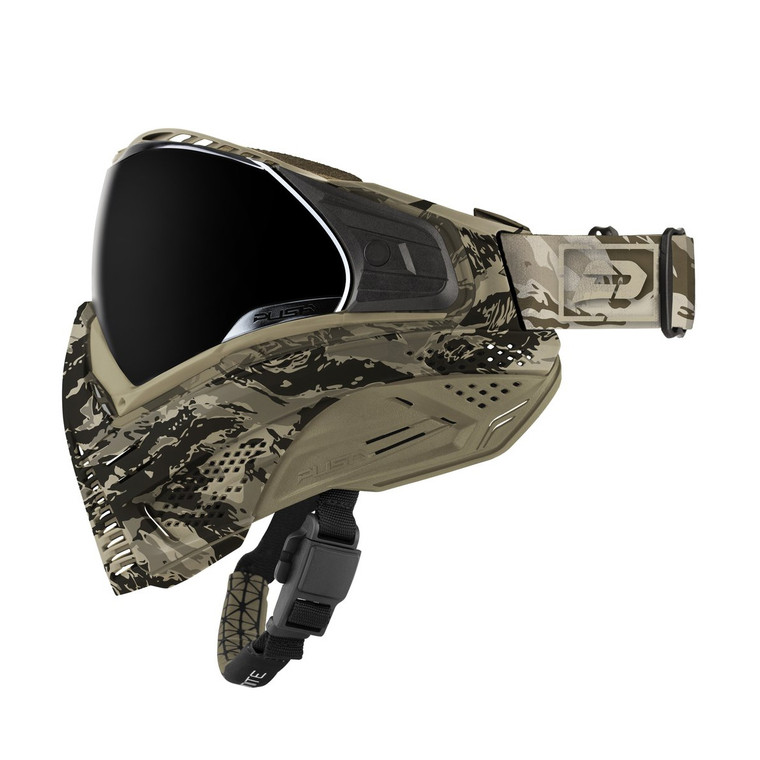 PUSH UNITE Paintball Goggles Mask with QUAD Pane Lens and Case - Tan Camo
