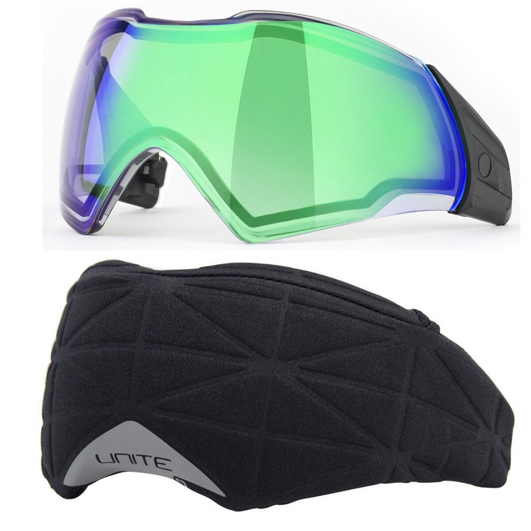 PUSH Unite Paintball Goggle / Mask Thermal CHROME GREEN Lens with Cover
