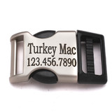 one inch satin metal plastic hybrid engraved side release buckle