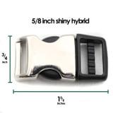 5/8 inch shiny metal plastic hybrid buckle