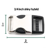 3/4 inch shiny metal plastic hybrid buckle