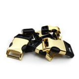Brass metal and plastic hybrid contoured side release buckles
