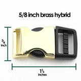 5/8 inch brass hybrid side release dog collar buckle