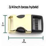 3/4 inch brass hybrid side release dog collar buckle