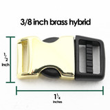 3/8 inch brass hybrid side release buckle with measurements