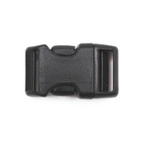 3/4 inch black plastic contoured side release buckle front