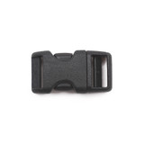 5/8 inch black plastic contoured side release buckle front