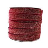 dark red wine glitter velvet ribbon spool