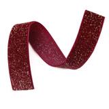 dark red wine glitter velvet ribbon detail
