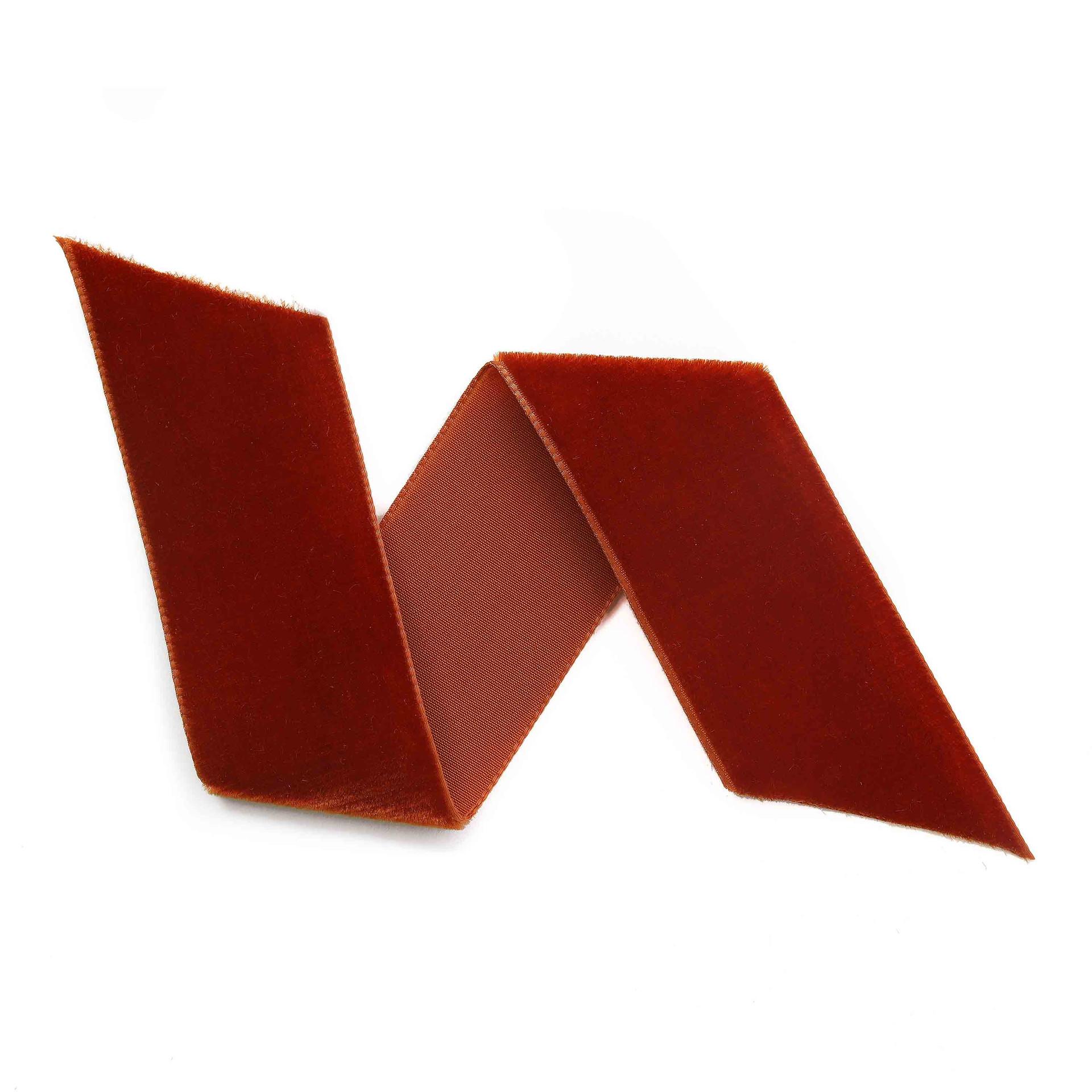 Rust Velvet Ribbon By The Yard