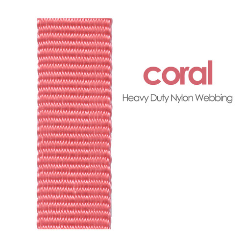 heavy duty coral nylon webbing color swatch - strawberry pink nylon webbing