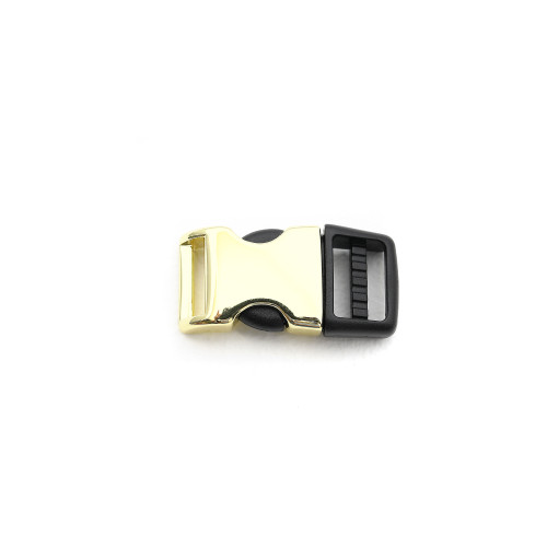 3/8 Inch brass metal and plastic hybrid side release buckle