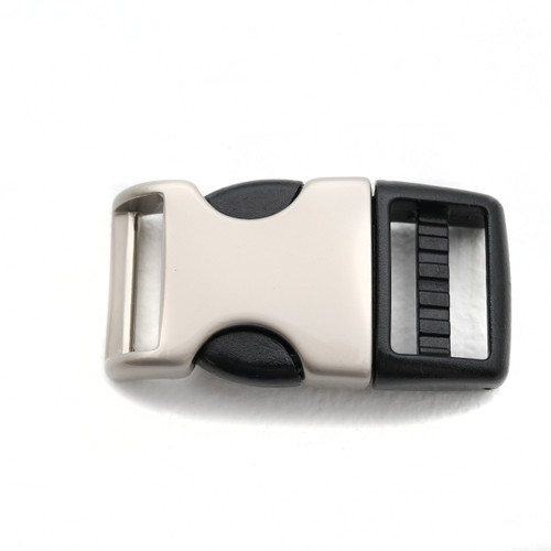 3/4 inch satin metal and plastic hybrid side release buckle