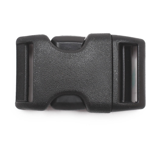 1 inch black plastic contoured side release buckle front