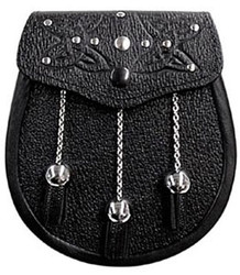 Black Celtic Embossed Leather Sporran