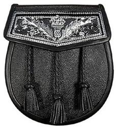 Black Leather Thistle Plate Sporran