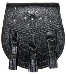 Embossed Black Leather Sporran