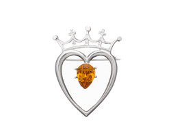 Heart and Crown Brooch