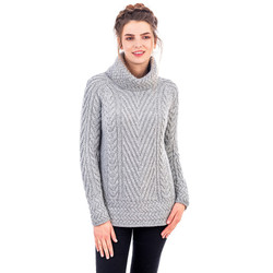 Ladies Turtleneck Ribbed Cable