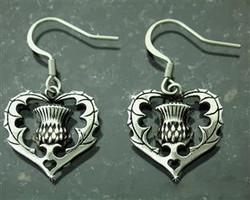 Scottish Heart Thistle Earrings