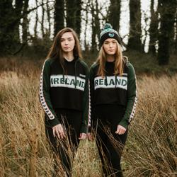 Ladies Green and Black Cropped Hoodie