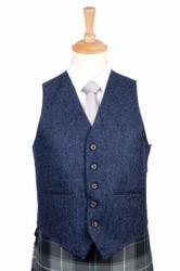 Braemar Lomond Blue Tweed Vest