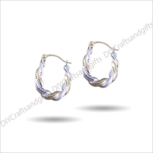 9ct White & Yellow Gold Twist Earrings 14x17mm wide & 1.75x2.5mm thick
