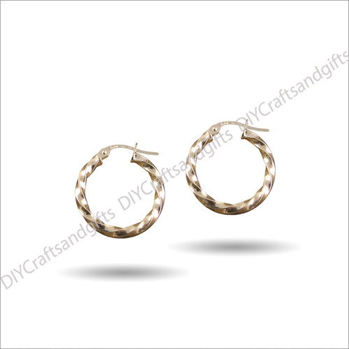 9ct Yellow Gold Twist Hoop Earrings 21mm wide & 3mm thick
