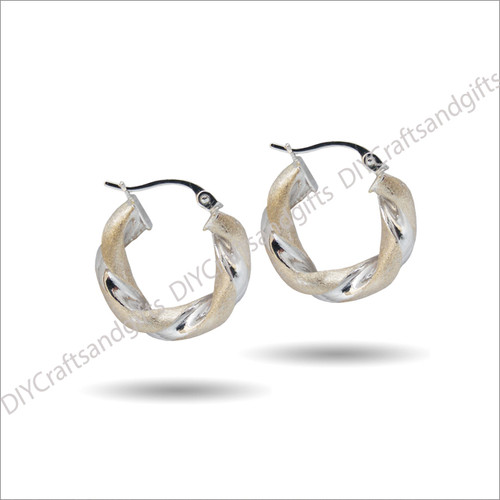 9ct White & Yellow Gold Twist Hoop Earrings.18mm wide & 4mm thick