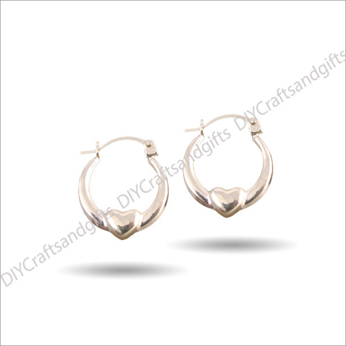 9ct Yellow Gold Hoop Earrings with heart at the bottom 13.5mm wide & 2.25x5mm thick