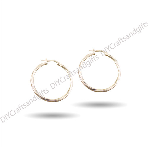 9ct Yellow Gold Twist Hoop Earrings 23mm wide & 2mm thick