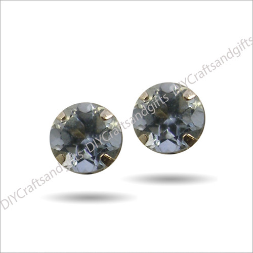 9ct Yellow Gold Earrings 3.5mm Round Blue Zircon Crystal set in 9ct Yellow Gold findings