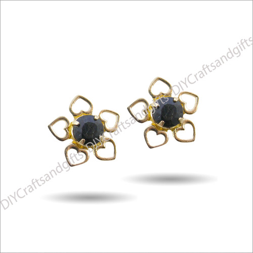 9ct Yellow Gold Earrings Round Sapphire Crystal with Yellow Gold Hearts 8.5mm round