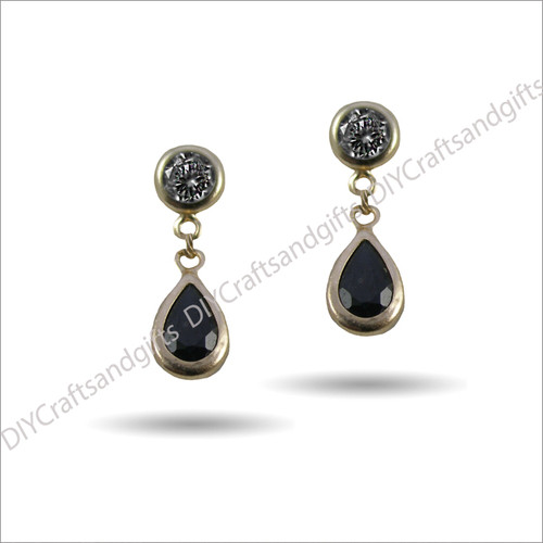 9ct Yellow Gold Earrings Yellow Gold Studs with 28mm drop. Sapphire Crystal at the bottom
