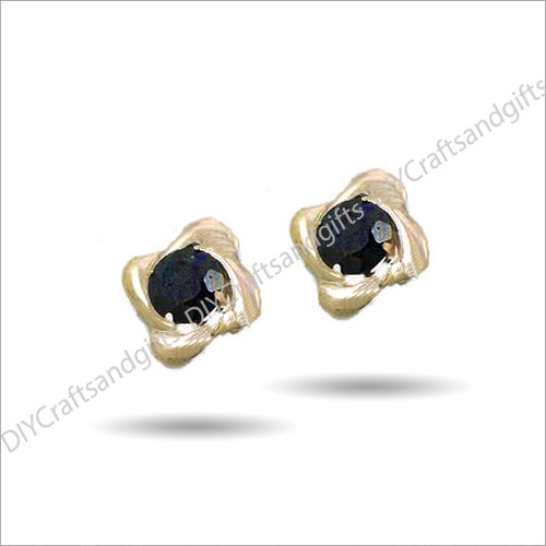 9ct Yellow Gold Earrings Sapphire Crystal centre with 9ct Yellow Gold Twists. 8.5mm square