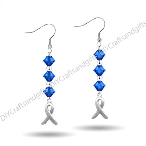 Beautiful Handmade Swarovski Crystal Earrings.Only available in Silver Plated and Sterling Silver at this time. Approx. 33mm (from top of bicones to bottom of ribbon)