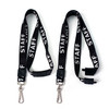 "black printed white staff lanyards 3/4"" inch printed fabric with steel swivel hook, plastic slider and breakaway"