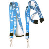 """blue printed white student lanyards 3/4"""" inch printed fabric with steel swivel hook, plastic slider and breakaway"""